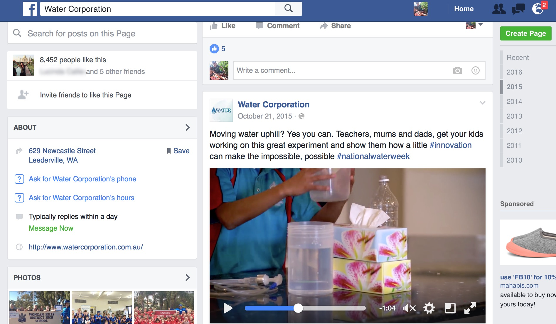 Social Media Video campaign by Watercorp Perth